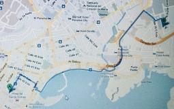Мой пеший маршрут до колумбийского посольства в Панама Сити. Вроде недалеко, можно и прогуляться