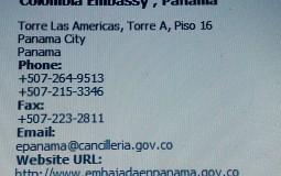 Адрес и контактные данные посольства Колумбии в Панама Сити