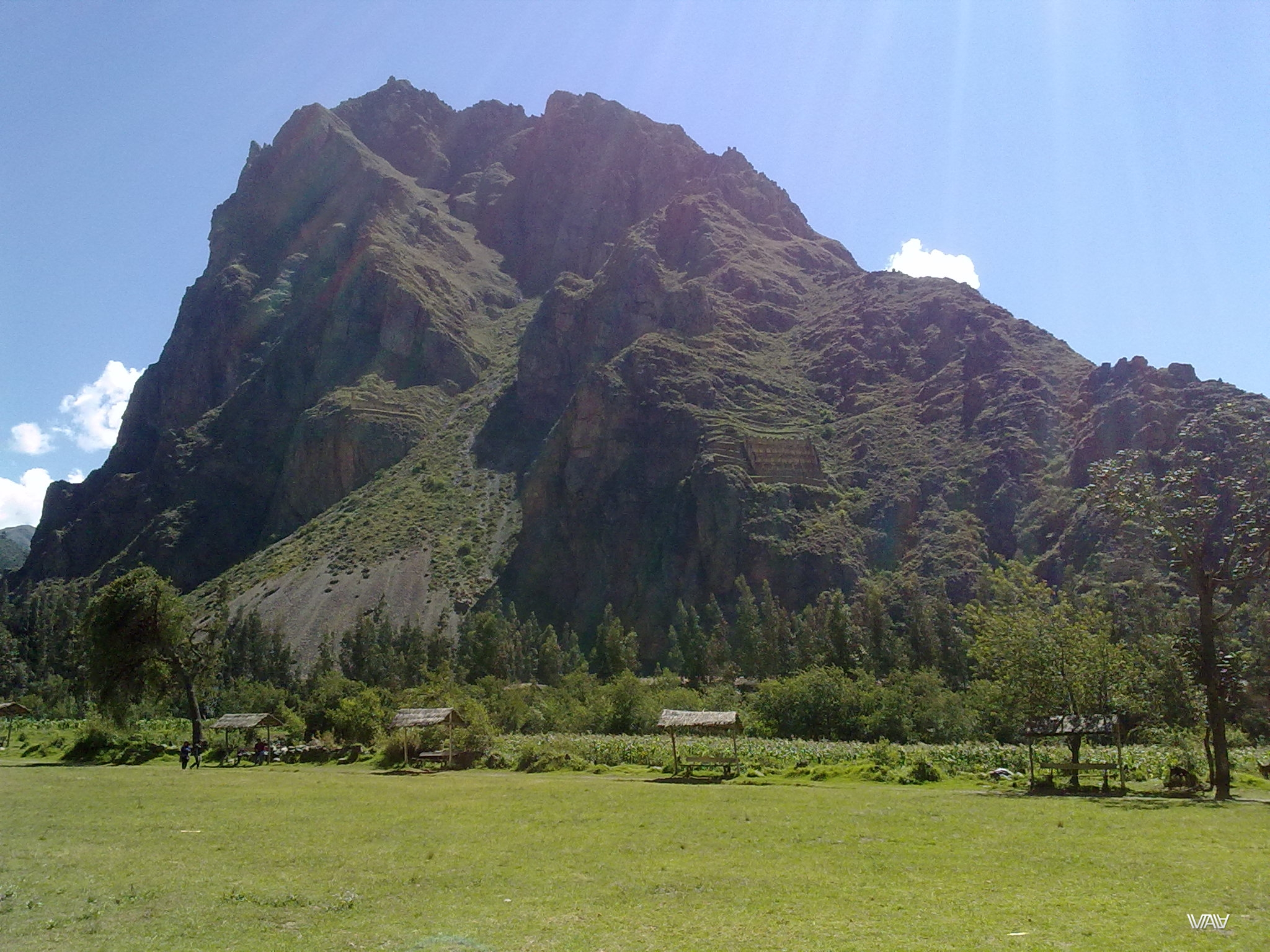 An incredibly beautiful view from the central part of the ancient city of Ollantaytambo, Peru.