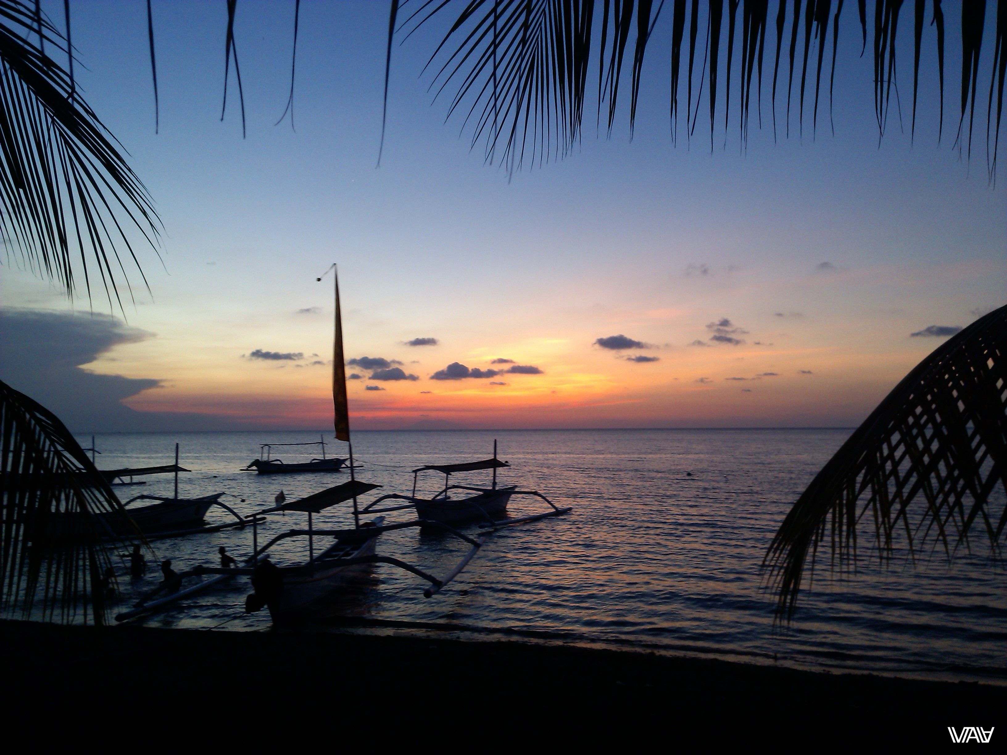 Sunsets in Bali are incredibly beautiful, and the water in the sea is warm as fresh milk. Lovina, Bali Island, Indonesia
