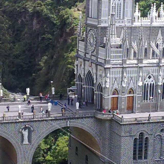 The Las Lajas Church, for the sake of it actually I went to Colombia. Carved from the cliff. Incredible beauty. Ipiales, Colombia