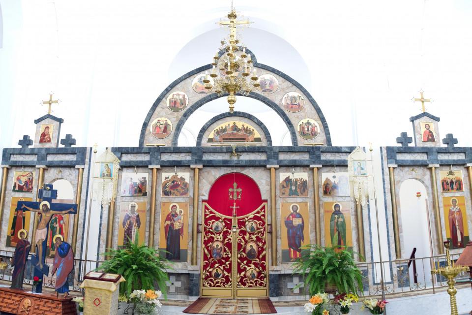 Altar and Icons of the church of Saint Efrosinya Polotskaya. Ivenets, Belarus