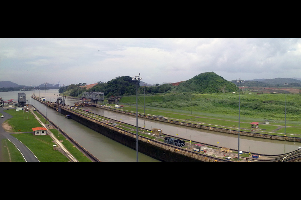 Exit from Panama Canal to the Pacific Ocean. Panama Canal, Panama