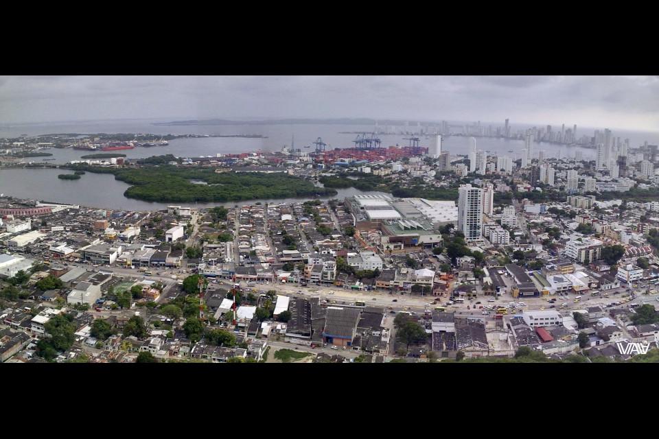 Panorama of the new part of Cartagena from the Convento de la Popa. Cartagena, Columbia