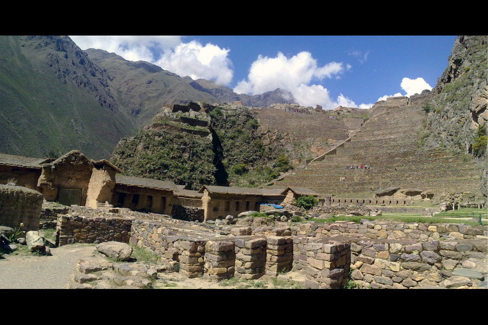 Just great view of the terraces and mountains from the center of the ancient Inca city. Ollantaytambo, Peru