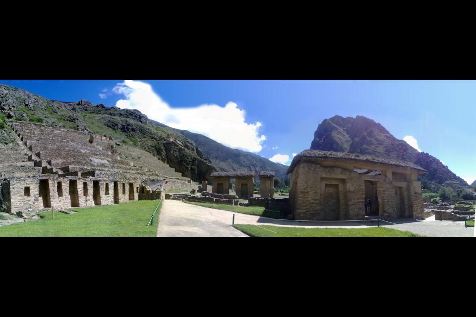 Incredible terraces and remains of ancient Inca dwellings. Ollantaytambo, Peru