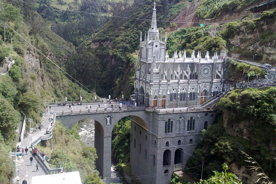 One more view of Santuario De Las Lajas. Ipiales, Colombia