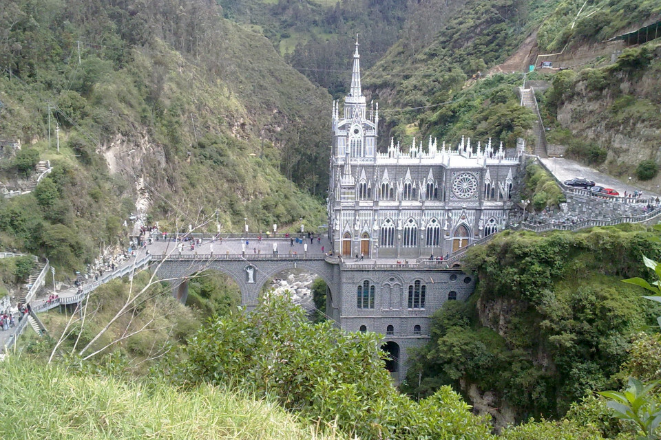 View of Santuario De Las Lajas from the hill in front of it. Ipiales, Colombia